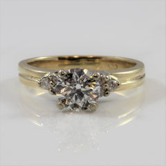 Side Stone Accented Diamond Engagement Ring | 1.08 ctw | SZ 7 |