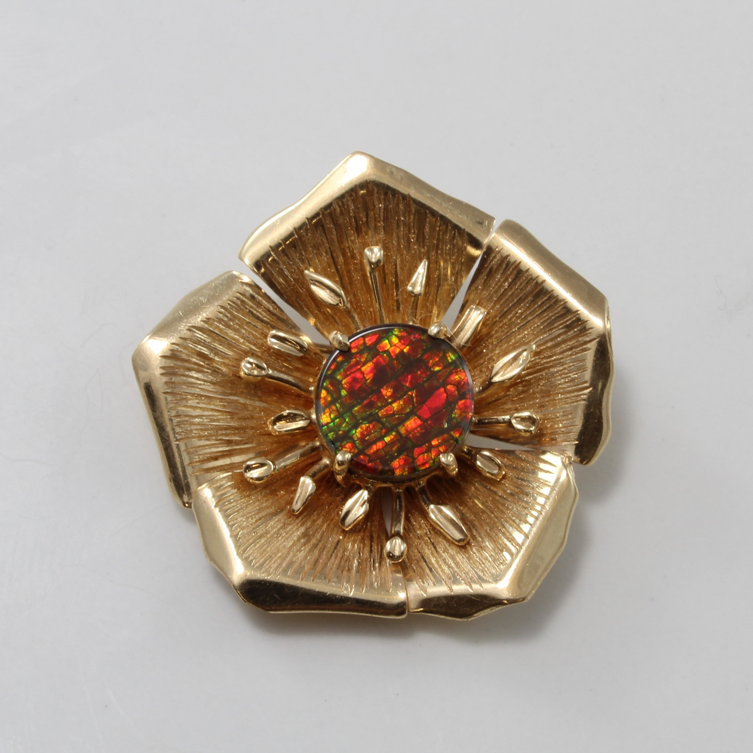 Ammolite Centre Flower Brooch | 2.00ct |