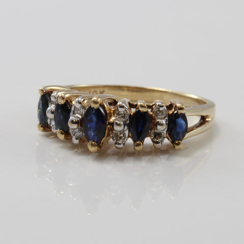 Alternating Blue Sapphire & Diamond Ring | 0.40ctw, 0.08ctw | SZ 6 |