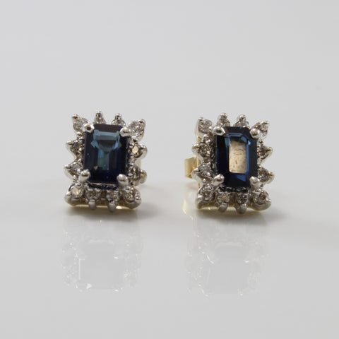 Emerald Cut Sapphire & Diamond Halo Stud Earrings | 1.50ctw, 0.20ctw |