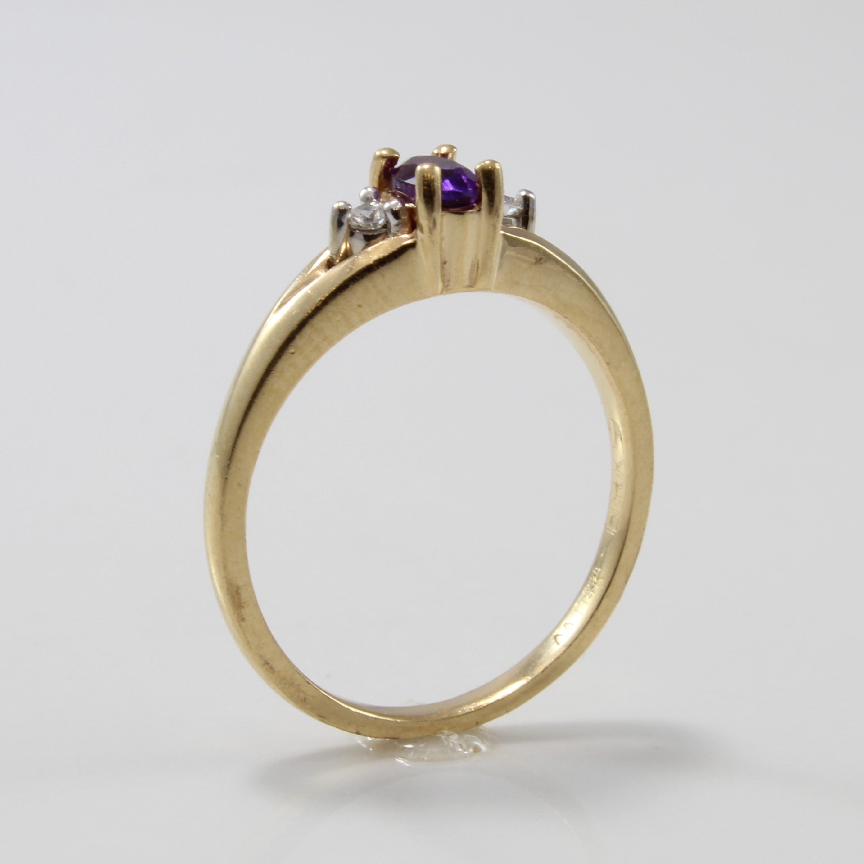 'Birks' Amethyst & Diamond Three Stone Ring | 0.15ct, 0.06ctw |