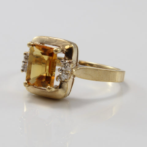 Emerald Cut Citrine Ring Diamond Accents | 0.80ct, 0.08ctw | SZ 5.75 |