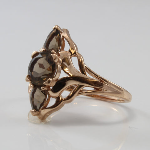 Three Stone Smoky Quartz Filigree Ring | 1.75 ctw | SZ 9.5 |