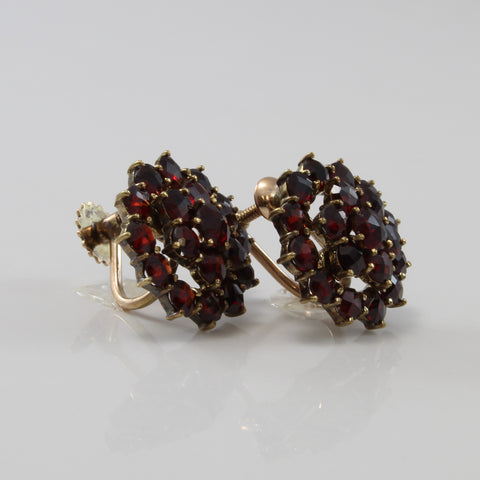 'Birks' Garnet Cluster Clip On Screw Back Earrings | 3.00ctw |