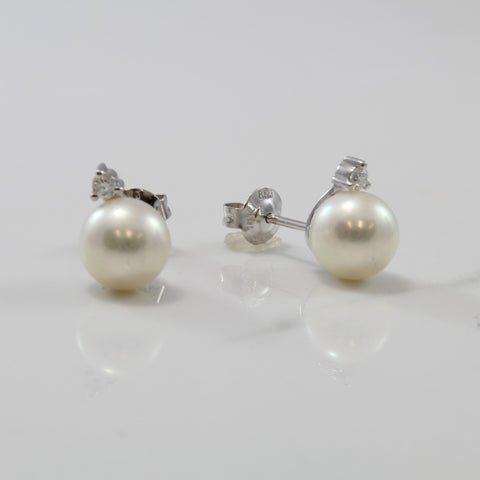 Pearl & Diamond Stud Earrings | 5.30ctw, 0.05ctw |