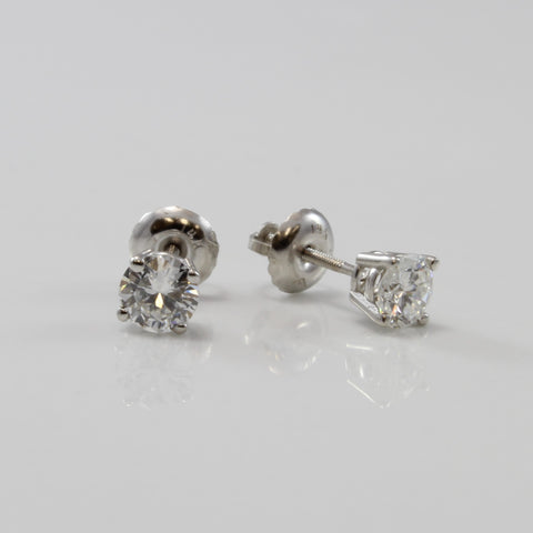 Diamond Solitaire Screw Back Stud Earrings | 0.56 ctw |
