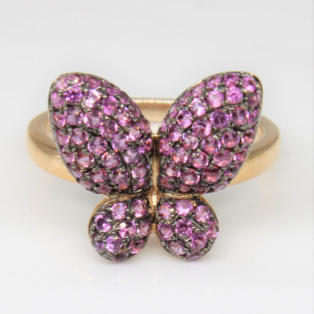 'Afarin' Pink Sapphire Butterfly Ring | 0.75ctw | SZ 6 |
