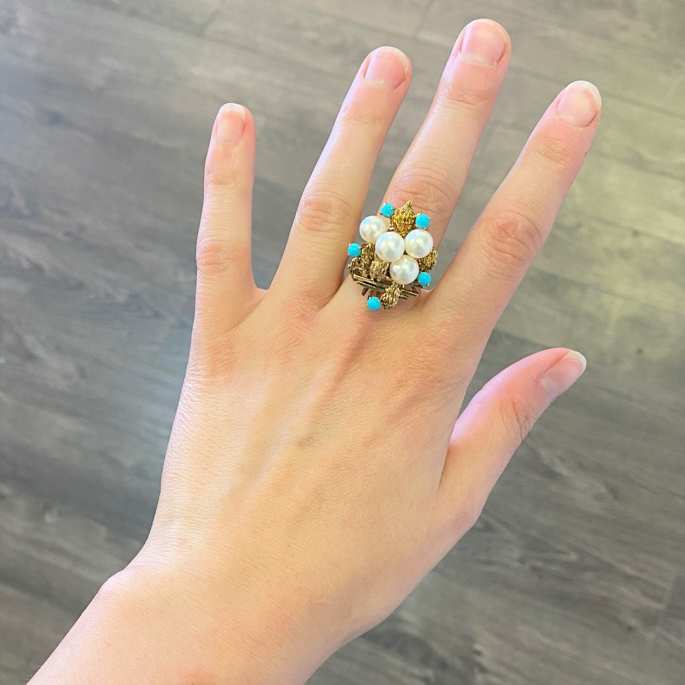 High Set Pearl & Turquoise Ring | SZ 7.25 |