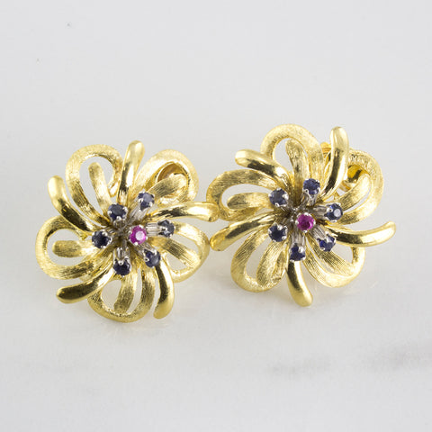 Pink and Blue Sapphire Floral Twist-On Earrings | 0.75 ctw |