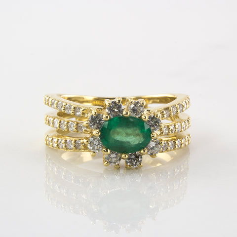 Emerald and Diamond Halo Engagement Ring | 0.64 ctw | SZ 7 |