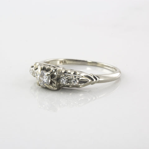 Art Deco Diamond Engagement Ring | 0.19 ctw | SZ 6.75 |