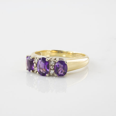 'Birks' Amethyst & Diamond Three Stone Ring | 0.95 ctw | SZ 7.75 |