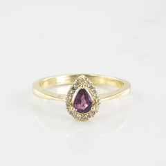 Diamond Halo Pear Cut Ruby Engagement Ring | 0.10 ctw | SZ 6.75 |