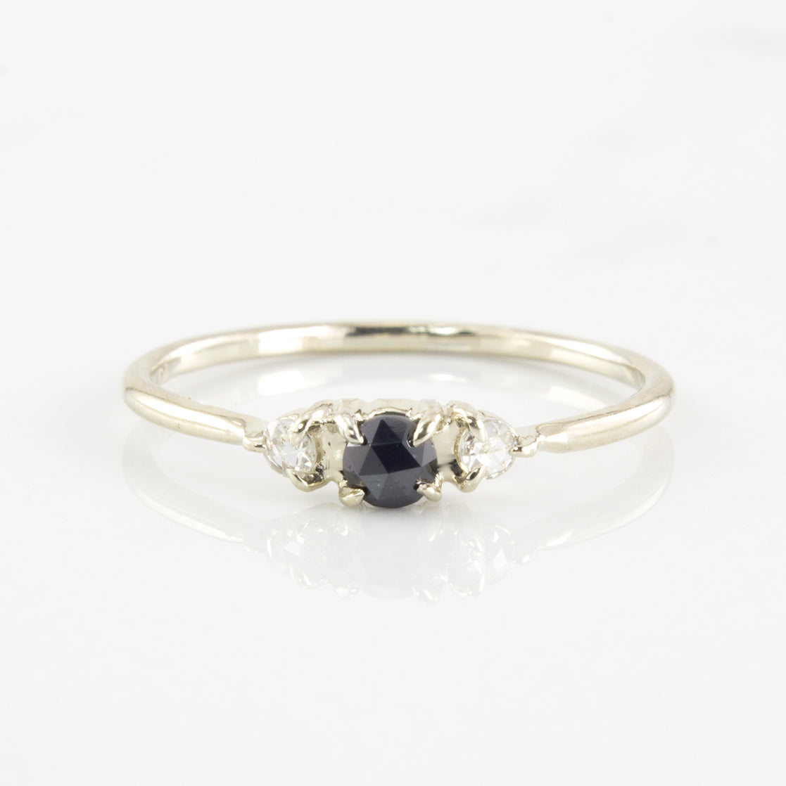Petite Black and White Diamond Ring | 0.12 ctw | SZ 5.25 |