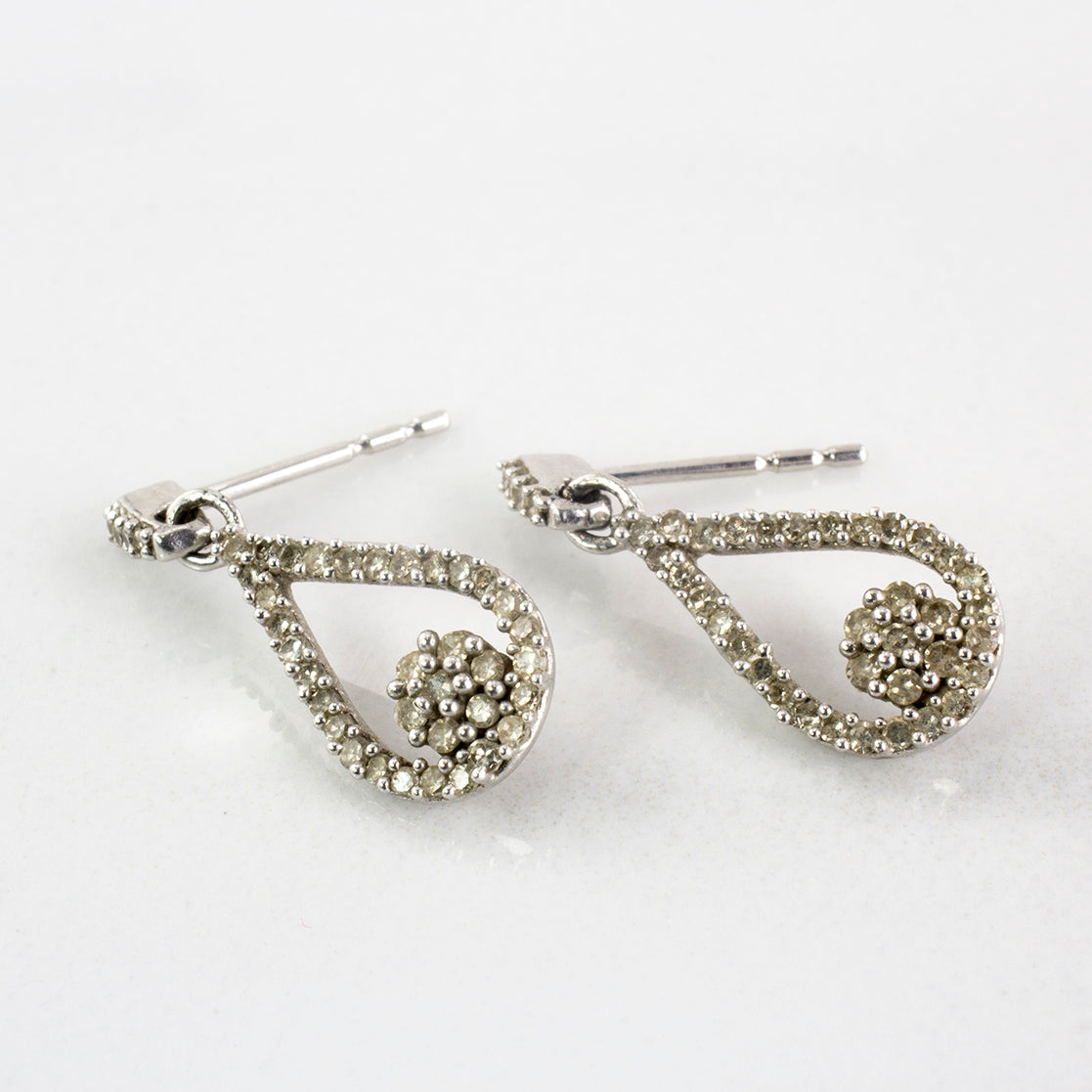 Diamond Cluster Drop Stud Earrings | 0.40 ctw |