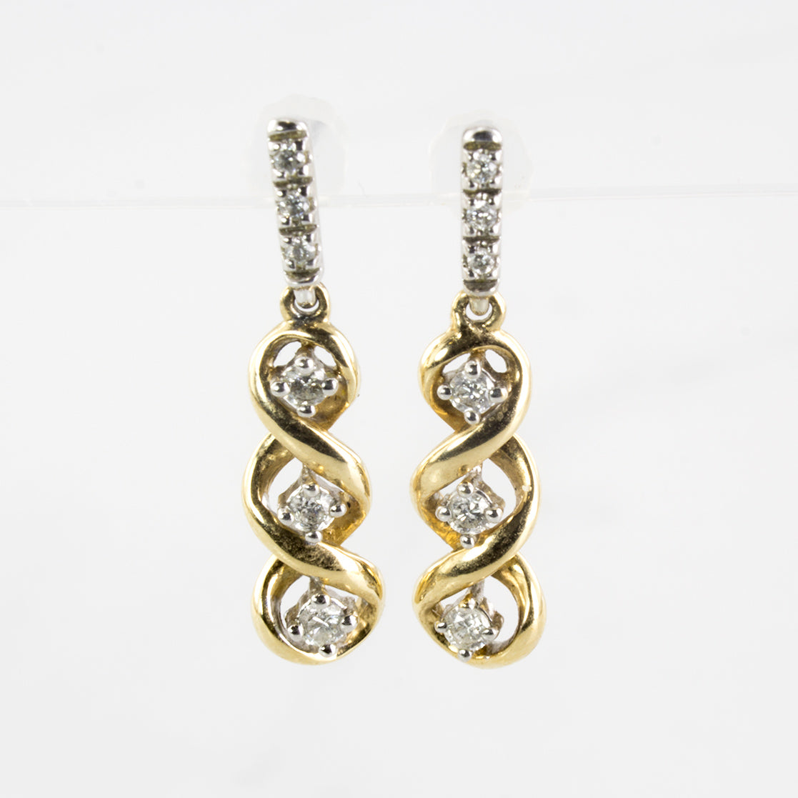 Spiral Diamond Drop Stud Earrings | 0.16 ctw |