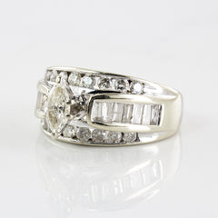 Wide Band Marquise Cut Diamond Ring | 1.40 ctw | SZ 7 |