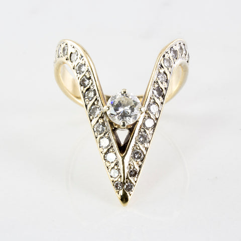 Deep Chevron Solitaire Diamond Ring | 1.02 ctw | SZ 6.75 |