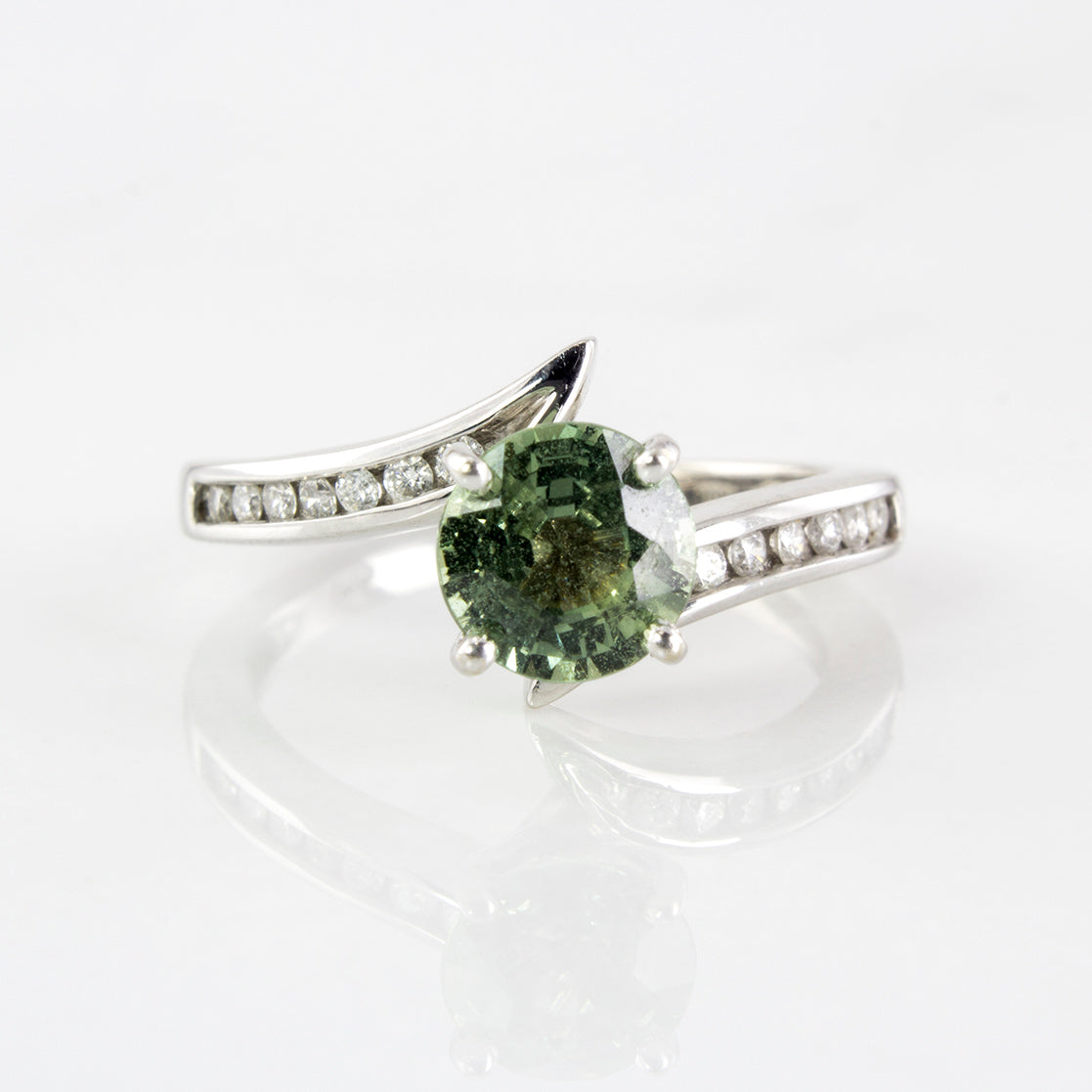 GIA Certified Green Sapphire & Diamond Bypass Ring | 1.01ct  | SZ 4 |