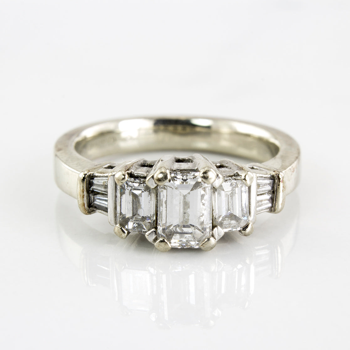 Three Stone Emerald Cut Engagement Ring | 1.00 ctw | SZ 5.75 |