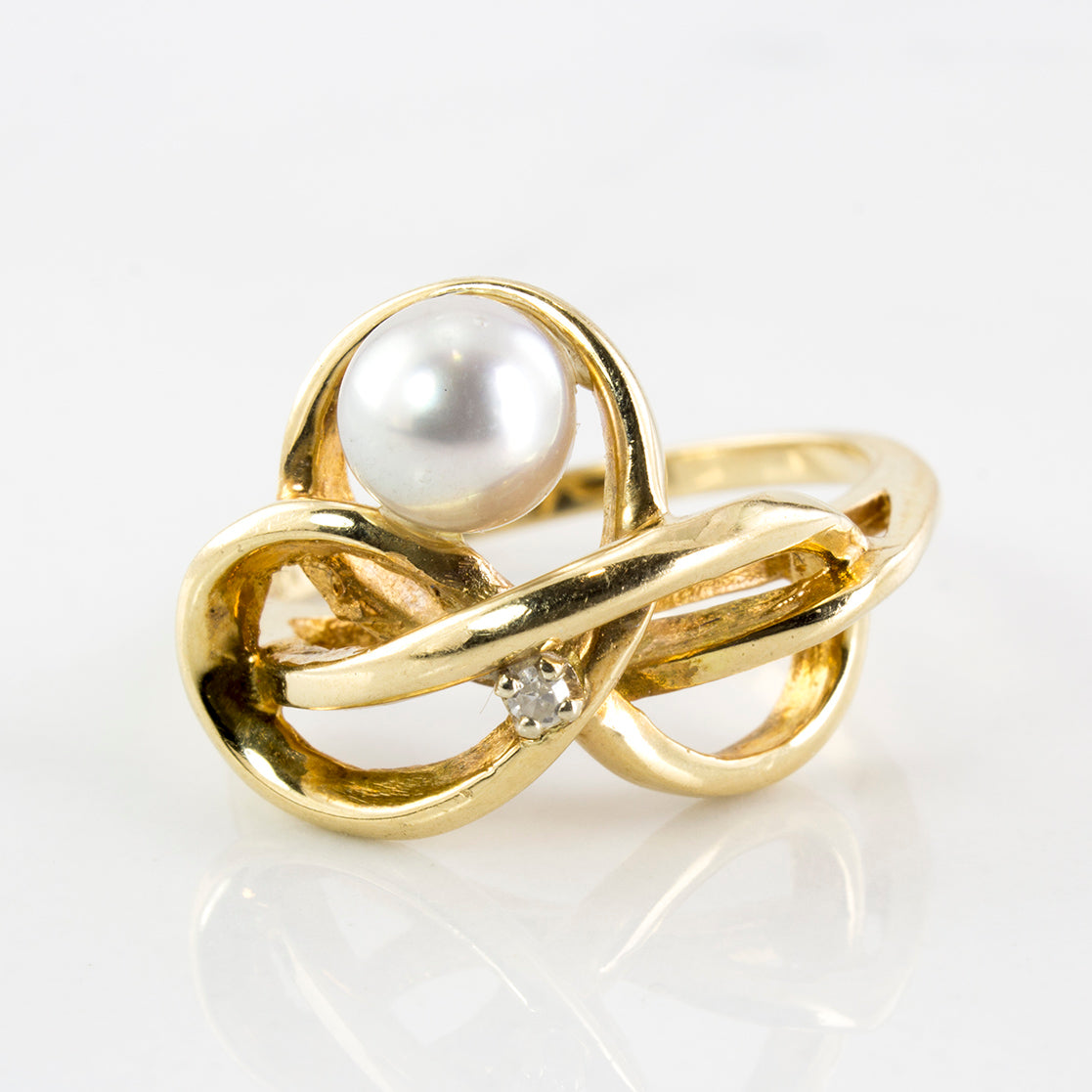 Free Form Pearl & Diamond Ring | 0.01 ctw | SZ 6.5|