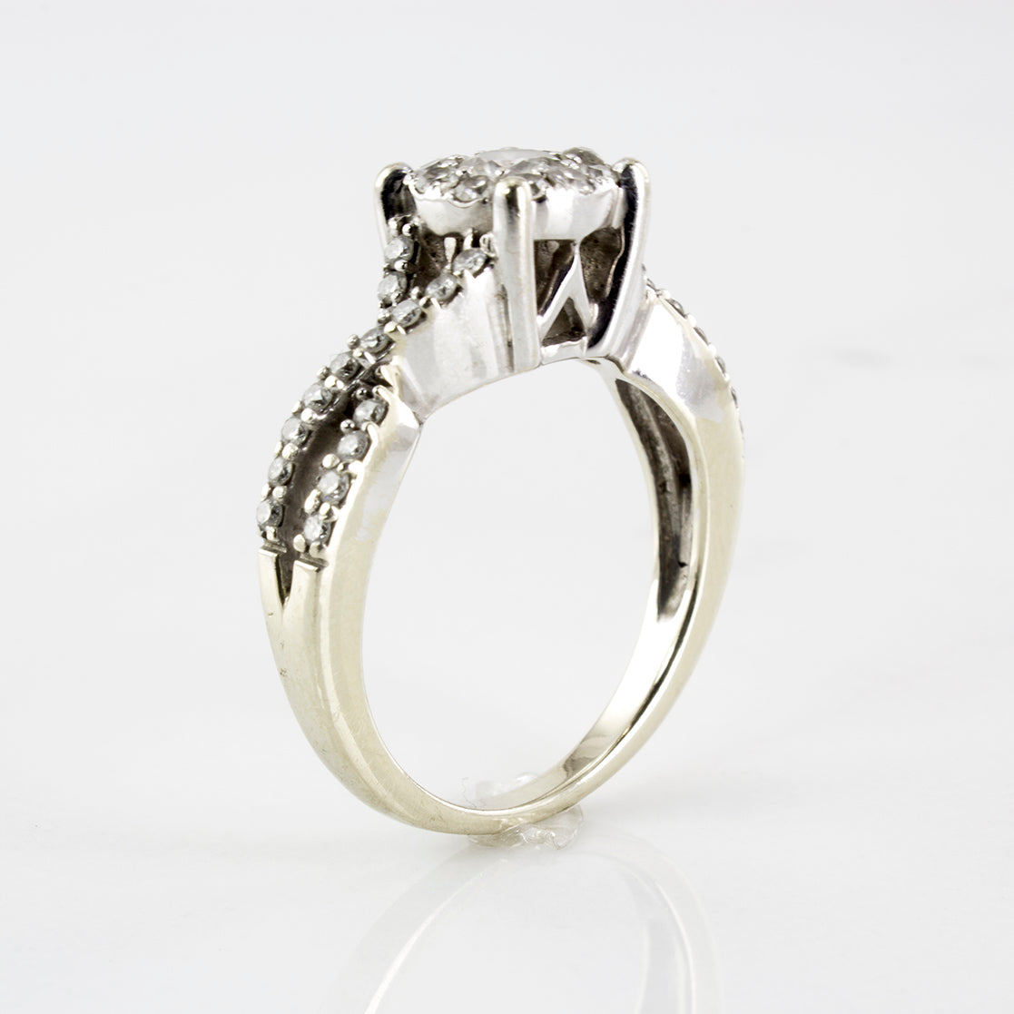 Braided Band Diamond Halo Ring | 0.77 ctw | SZ 5.75 |