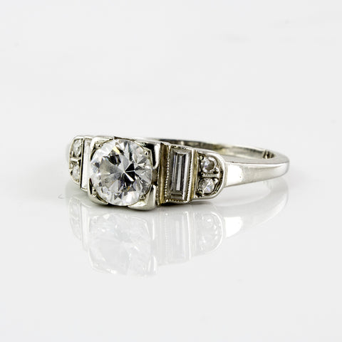 Late Art Deco Era Diamond Engagement Ring | 0.64 ctw | SZ 5.5 |