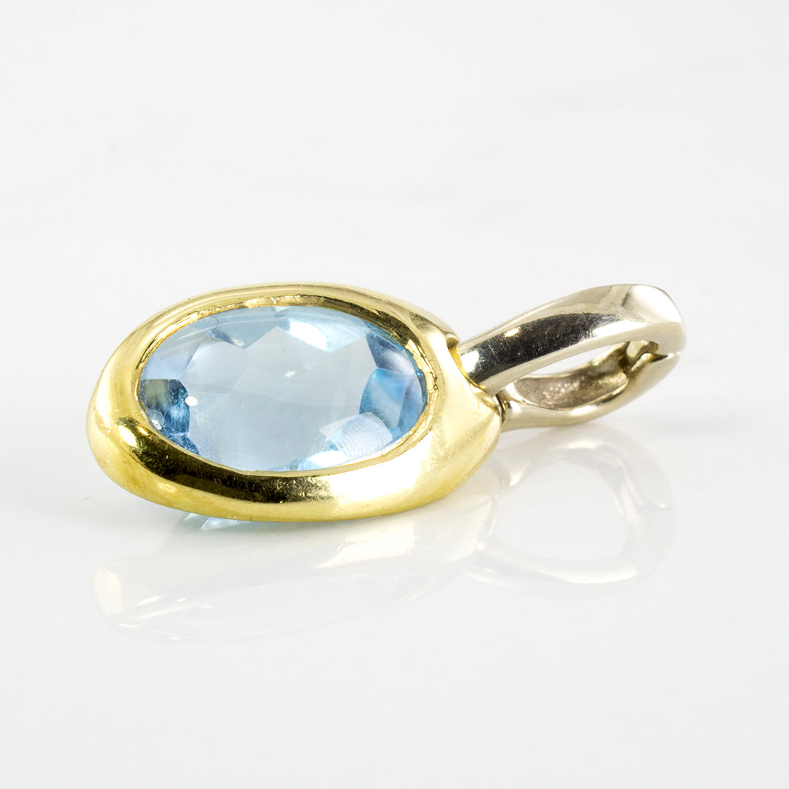 'Birks' Blue Topaz Two Tone Pendant | 4.00 ct Blue Topaz |