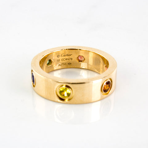 'Cartier' Multi Gemstone Love Ring | 0.50 ctw | SZ 5.25 |