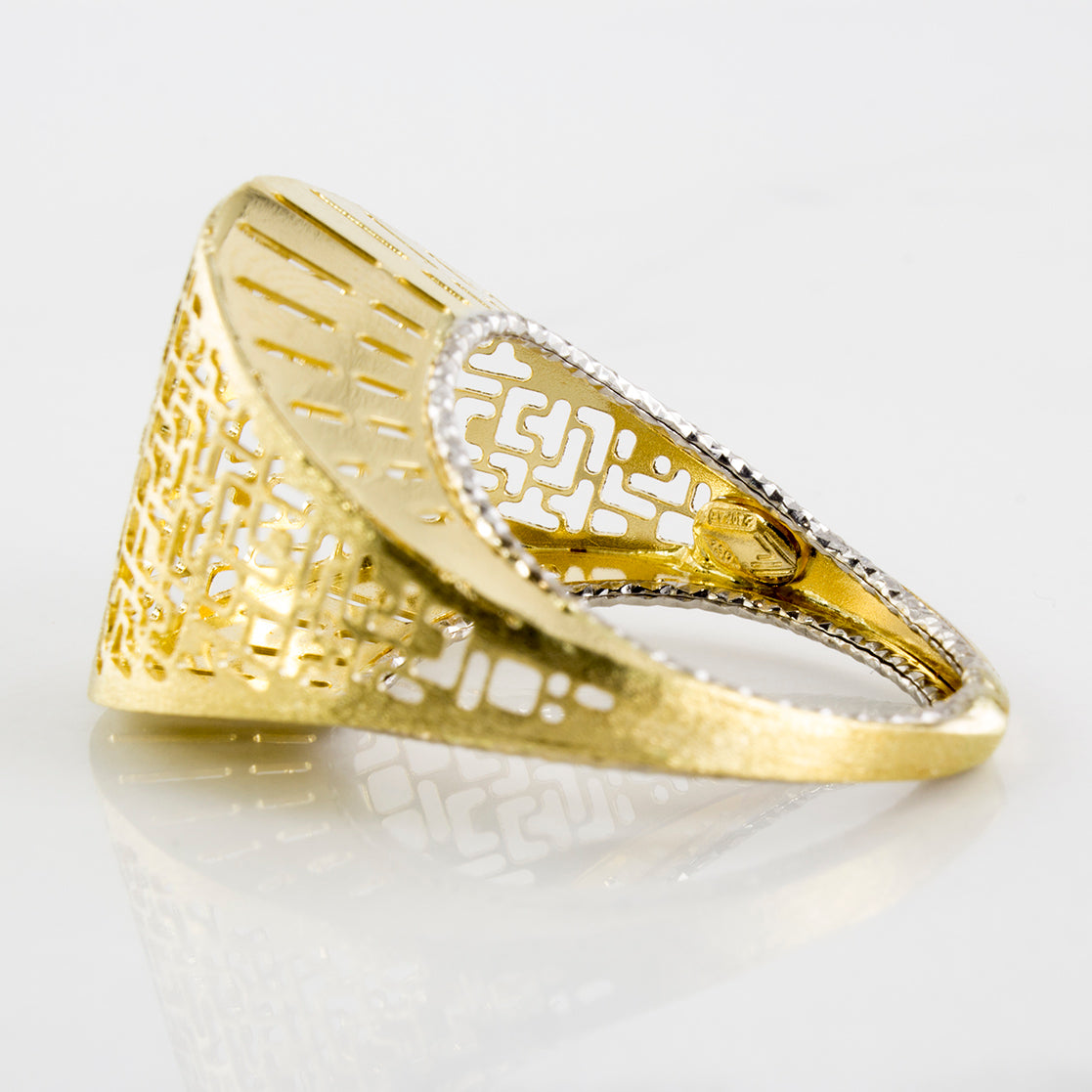 Hollow Geometric Form Two Tone Ring | SZ 8 |