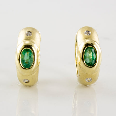 'Birks' Oval Emerald & Diamond Accent Hoop Earrings | 0.46 ctw, 0.04 ctw |