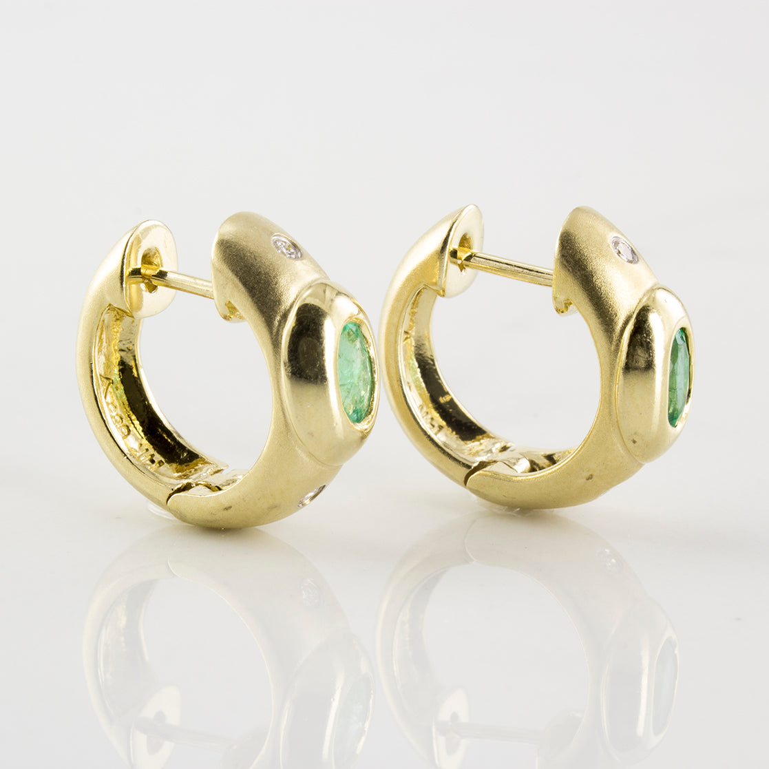 'Birks' Oval Emerald & Diamond Accent Hoop Earrings | 0.04ctw, 0.46ctw |