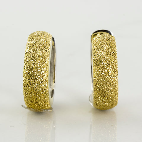 'Birks' Sparkle Finish Two Tone Hoop Earrings