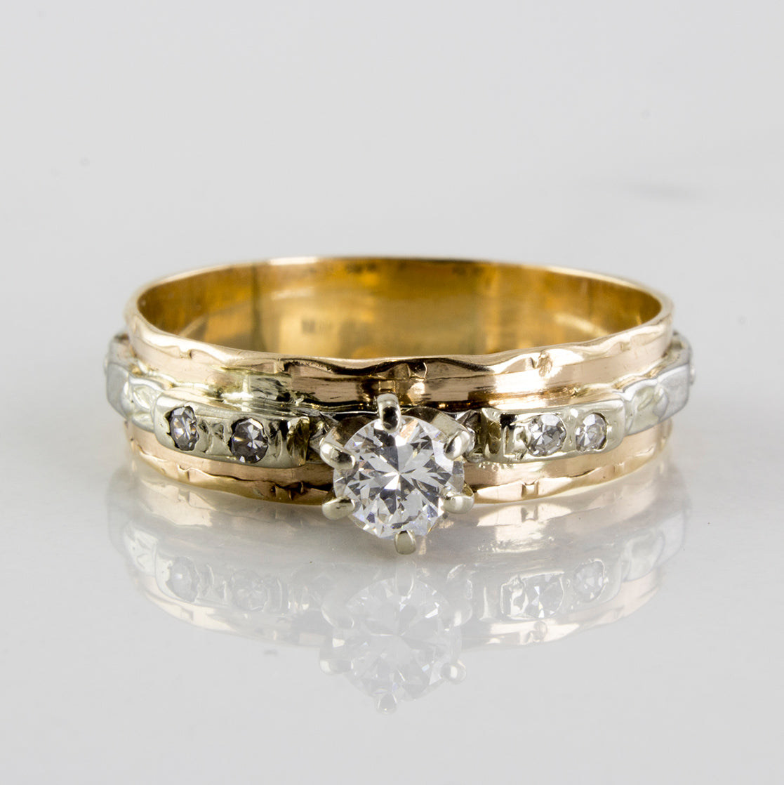 Textured Retro Solitaire Diamond Ring | 0.20 ctw | SZ 7 |