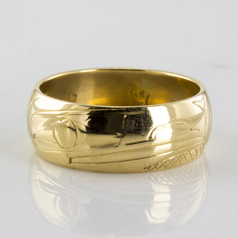 Raven Art Gold Band | SZ 10 |