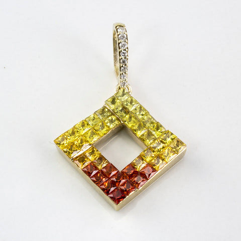 Yellow & Orange Sapphire Gradient Pendant | 2.00ctw, 0.04ctw |