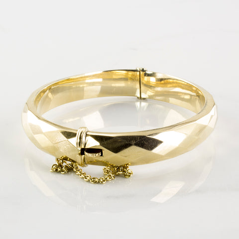 'Birks' Faceted Gold Bangle Bracelet | SZ 7.5"