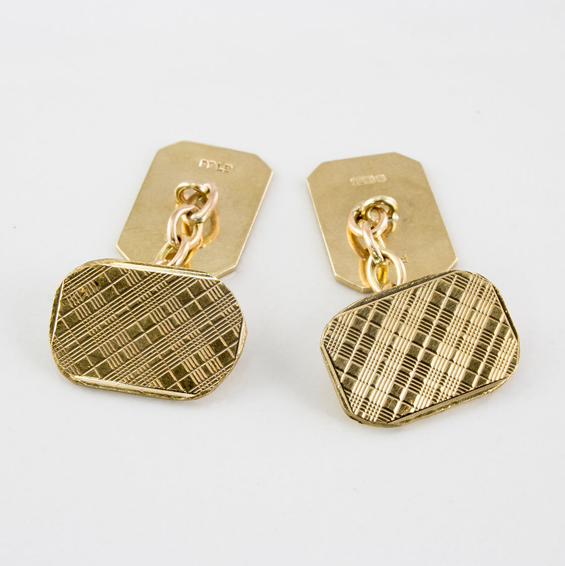 1960's Checkered Gold Cuff Links