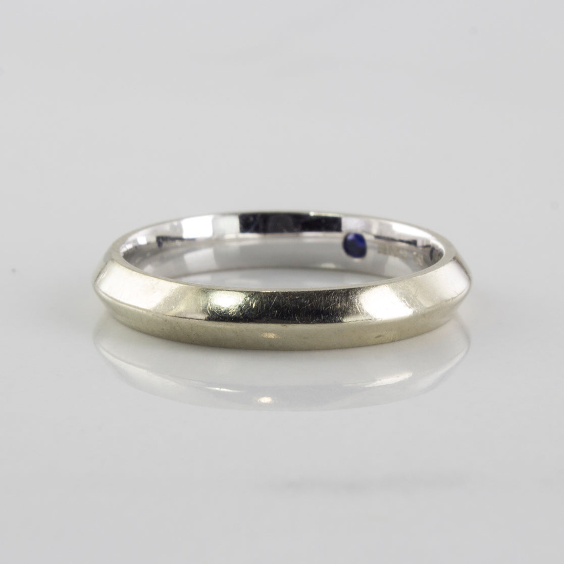 'Birks' White Gold Band With Hidden Sapphire | SZ 4.25 |