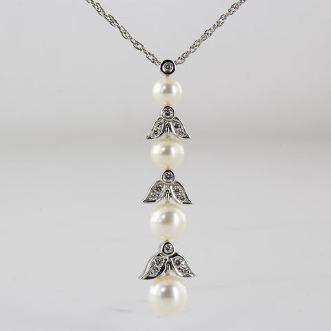'Birks' Pearl & Diamond Drop Necklace | 0.24ctw | 16-18"