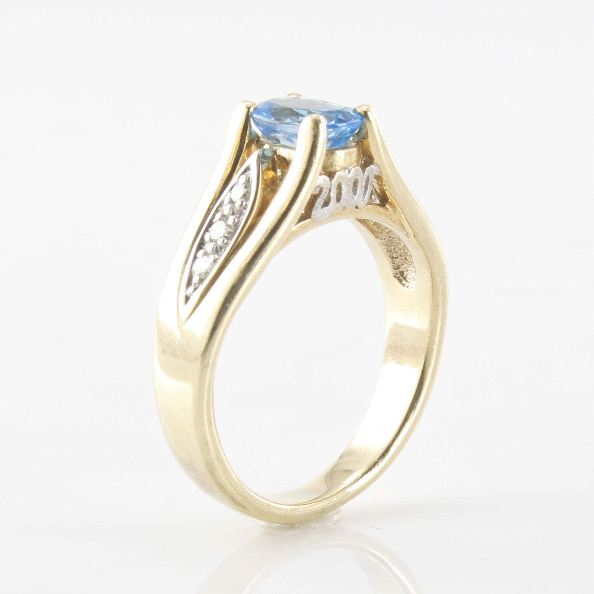 Blue Topaz & Diamond Accent Ring | 0.12ctw, 0.90ct | SZ 6 |
