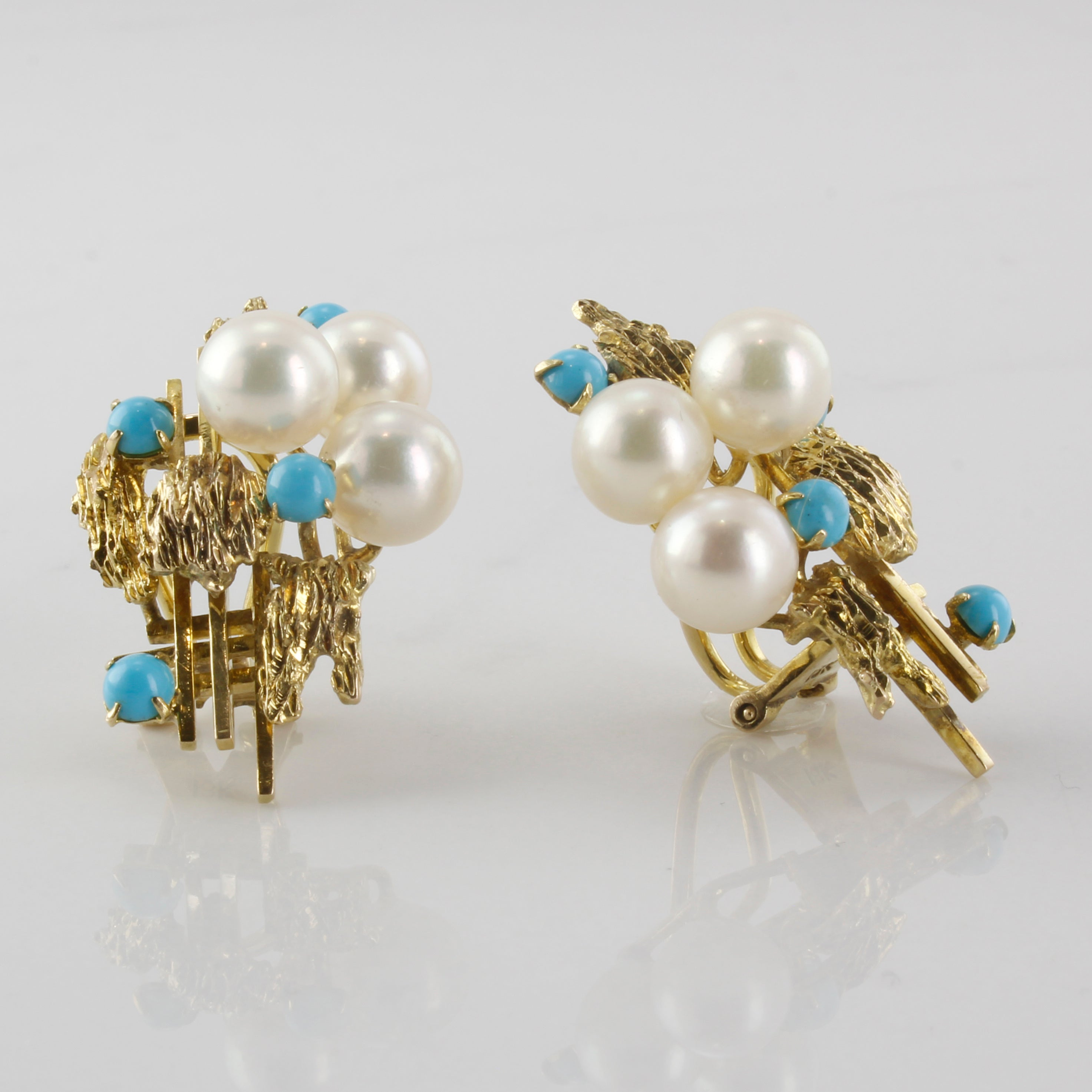 Clip On Pearl & Turquoise Earrings | 17.00ctw |
