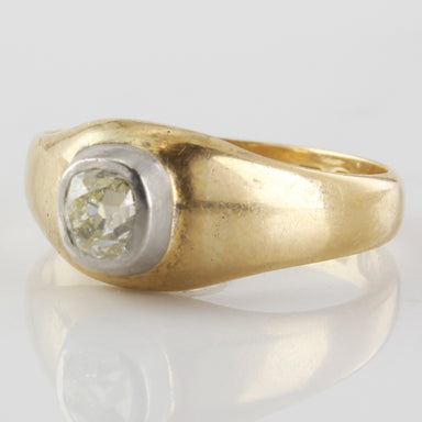 Diamond solitaire vintage gold ring, old antique mine cut ring