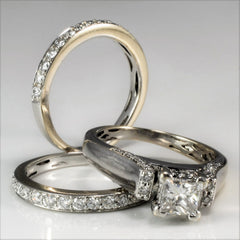 Princess Cut Engagement Ring With Matching Bands | 0.93 ctw, SZ 4.75 |