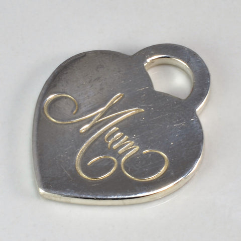 "Tiffany & Co. Engraved ""Mum"" Heart Tag"