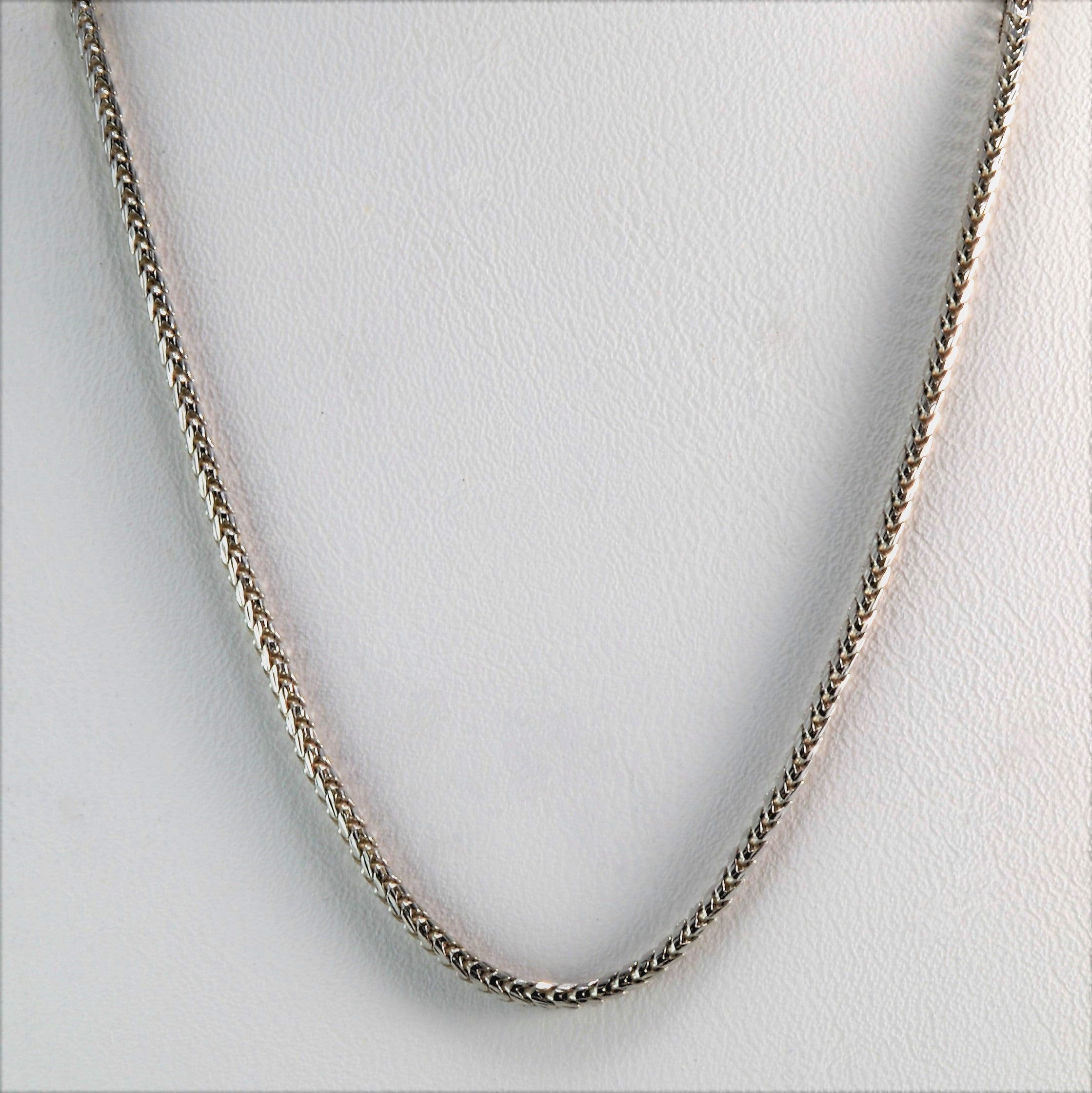 White Gold Wheat Chain | 30"