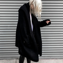 ThePerfext Black Long Hooded Collette Sweater