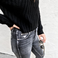 ThePerfext Black Casey Cropped Cashmere Sweater