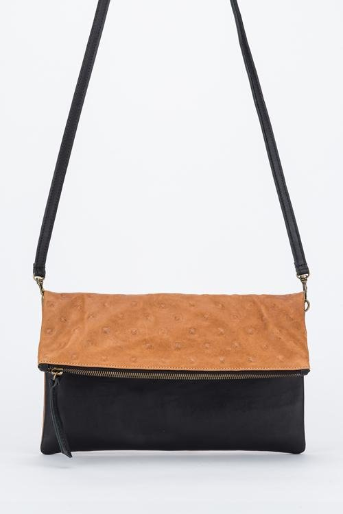 Dylan Foldover Clutch Chestnut/Black