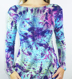 Blue Snake Long Sleeve Top